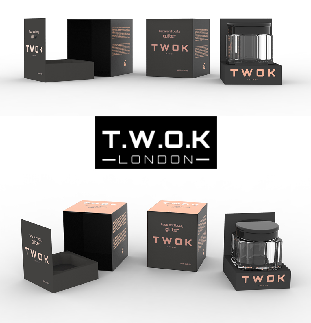 Dizajn kutije za glitter T.W.O.K London
